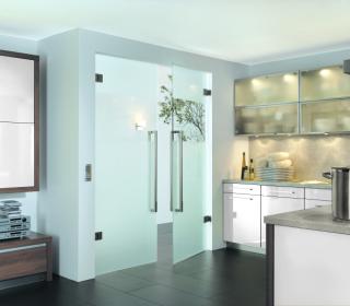 glas schiebet r nach ma f r die k che glaserei hyna in. Black Bedroom Furniture Sets. Home Design Ideas